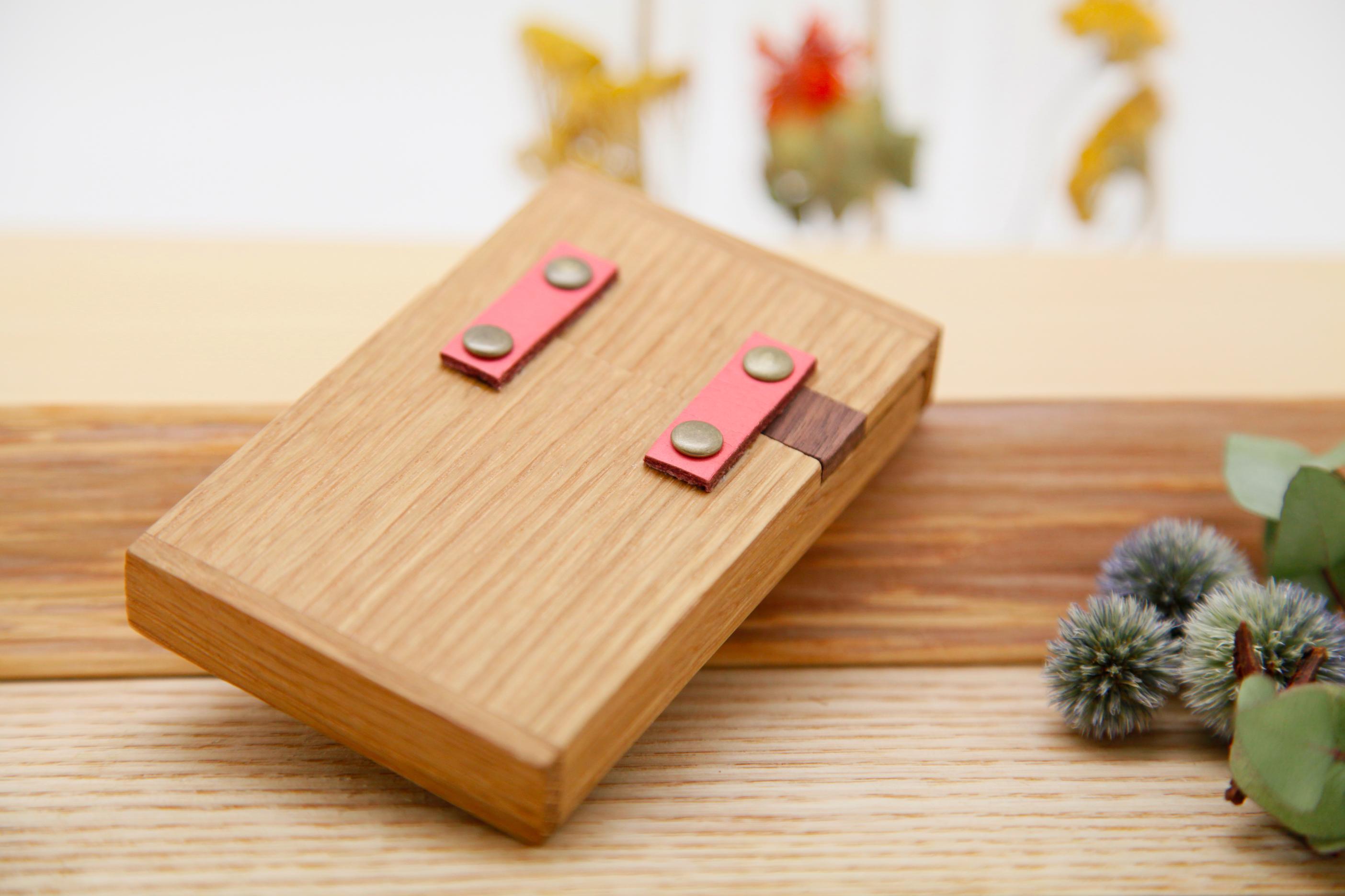 カードケース オーク×ピンク