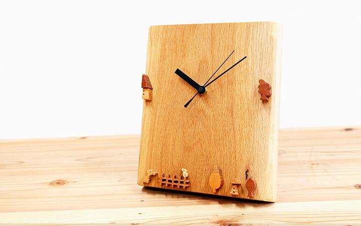 木の時計 オーク 動物や木やおうちの時計