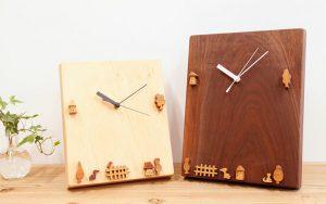 木の時計 動物や木やおうちの時計