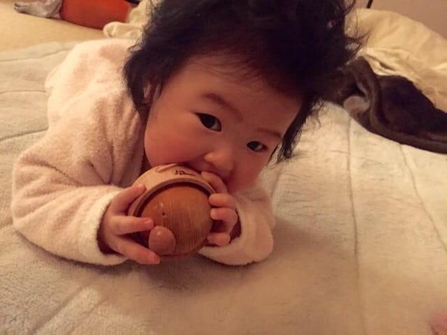 木のおもちゃ 知りたがりやのzappie 舐める 赤ちゃん